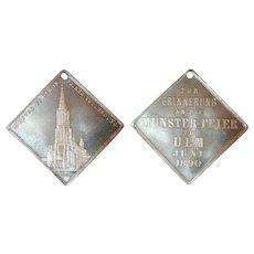 1890 German Medal Commemorating The Celebration of Completion Munster Ulm (#088)