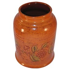 2002 Redware Jar Tulips Sgraffito Decoration Made Decorated by Ned Foltz Himself