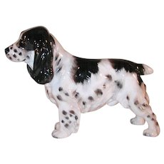 Vintage Royal Doulton Dog Figurine Black White Spaniel Standing Signed Numbered