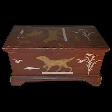 Old Miniature Painted Dower Wood Chest with Till and Primitive Animal Decoration