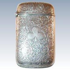 W Hayden & Co Sterling Silver Match Safe Vesta Engraved Clover & Scroll Design