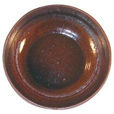 Vintage Glazed Redware Brown Colored Small Bowl Southeastern Pennsylvania