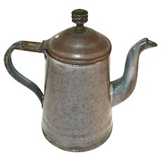Old Mottled Gray Agateware Teapot Domed Lid Wood Finial Gooseneck Spout