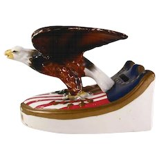 Painted Figural Ceramic Patriotic Still Penny Bank Bicentennial American Eagle
