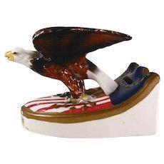 Painted Figural Ceramic Patriotic Still Penny Bank Bicentennial American Eagle