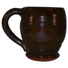 1948 Isaac Stahl Glazed Brown Redware Barrel Shaped Mug Handle Powder Valley PA