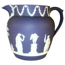Vintage Dark Blue Wedgwood Jasperware Pitcher Applied Handle and Spout