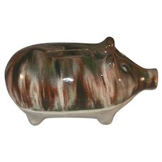"Antique Pottery Still Penny Bank Two Tone Pig Standing Marked ""ECHO SLDX"""