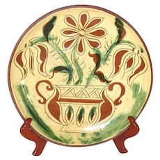 "1976 Redware Glazed Sgraffito Decorated Tulips Design 10"" Pie Plate L Breininger"