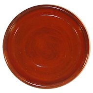 "Nice 1983 Glazed Redware Hand Thrown Round 8"" Deep Dish By Lester Breininger"