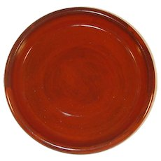 "Nice 1983 Glazed Redware Hand Thrown Round 8"" Deep Dish By Lester Breininger"