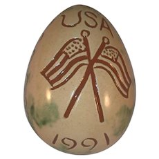 1991 Lester Breininger Glazed Redware Egg Sgraffito Design American Flags USA