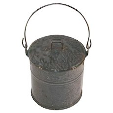 Antique Mottled Gray Graniteware Agateware Lidded Berry Bucket or Pail with Wire Handle