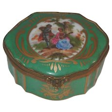 Limoges France Porcelain Small Box Hand Decorated Transfer Rococo Courting Scene