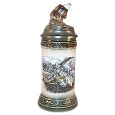 German Gerz Beer Stein Pewter Lid Spread Bald Eagle Eagles Raising Chicks Design