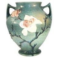 "Scarce 1940s Beautiful Roseville Pottery Green Magnolia Pattern Large Vase 92-8"""