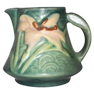 Beautiful Mid 1940s Roseville Pottery Creamer Green Zephyr Lily Pattern 7-C