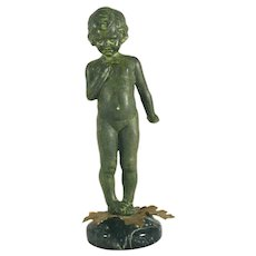 Bronze Metal Figurine Child Standing Verdigris Finish Brass Leaves & Marble Base
