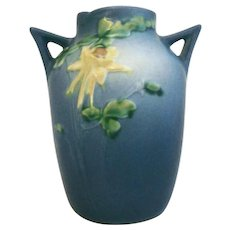 Beautiful Early 1940s Roseville Art Pottery Blue Columbine Two Handle Vase 14-6""