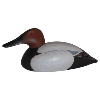 Beautiful Contemporary Ed Green Carved Wood Canvasback Duck Decoy Glass Eyes