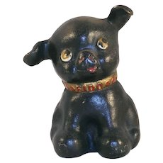 Vintage Cast Iron Still Bank Black Colored Fido the Puppy Made by Hubley