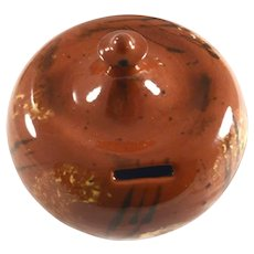 1988 Breininger Brown Colored Glazed Redware Penny Bank Yellow & Black Accent