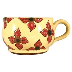 2009 Breininger Redware Yellow Soup Mug Glazed Sgraffito Decorated Floral Design