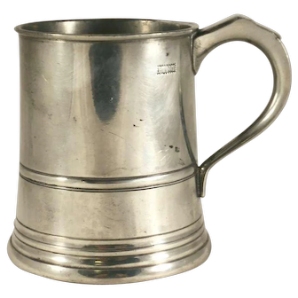 One Pint Pewter Lidless Straight Sided Tankard Hallmarked James Yates England