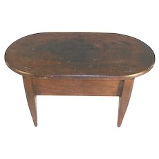 Antique Shaker Brown Wood Footstool Delicate Tapered Legs Round Ends Flat Top