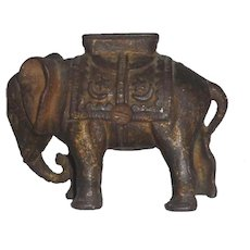 Antique Cast Iron Still Penny Bank Elephant with Howdah (Small) AC Williams