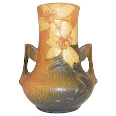 Beautiful 1940s Roseville Pottery Two Handled Vase Brown Clematis Pattern 106-7""