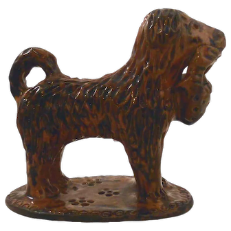 1980s Lead Glazed Redware Poodle Standing Basket in Mouth Marked LMH TCP