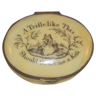Antique Battersea England Enameled Motto Patch Box Trifle Like This Secure Me Kiss