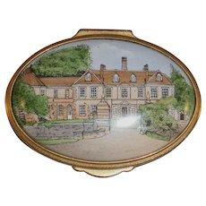 1994 Staffordshire Enamels England Oval Box Signed Hand Painted Lainston House