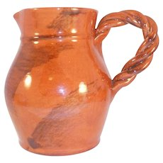 1987 Breininger Redware Bulbous Manganese Glazed Pitcher Tobacco Spit Decoration