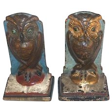 Vintage Painted Cast Iron Bookends Standing Owl On An Open Book