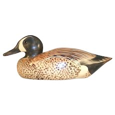 1999 Dux' Dekes Wooden Blue Winged Teal Duck Decoy Jeff Duxbury Signed & Dated