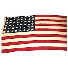 Large 9' by 5' Cotton 48 Star American Flag Old Glory Stitched Stripes & Stars