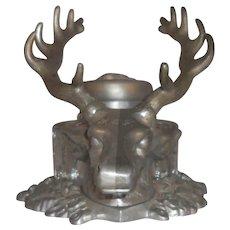 Vintage Desktop White Metal Inkwell Elk's Head Design Heavy Glass Insert