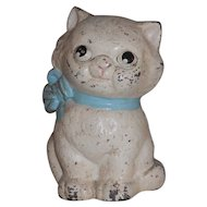 Cast Iron Hubley 820 Still Penny Bank Kitty Cat Blue Bow Collar Original Paint