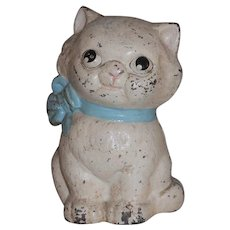 Cast Iron Hubley 820 Still Penny Bank Kitty Cat Blue Bow Collar Original Paint