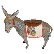 Antique German Lead Donkey Hinged Brown Saddle Penny Bank Niagara Falls
