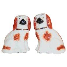 Antique Pair Staffordshire Porcelain Sitting Spaniels Dogs Burnt Orange on White