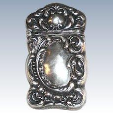 Sterling Silver Matchsafe Vesta Repousse Scroll Design Marked 925  STERLING