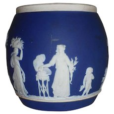 Antique Dark Blue Jasperware Large Size Barrel Putti Women Trees Flowers