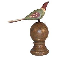 Vintage Primitive PA Dutch Folk Art Painted Carved Wood Perched Bird Wood Base