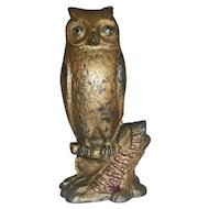 Rare Old Cast Iron AC Williams Wise Owl Standing on Tree Stump Still Penny Bank