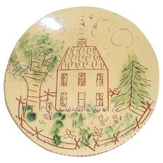 1982 Breininger Redware Glazed Sgraffito Decorated Large Plate Country House
