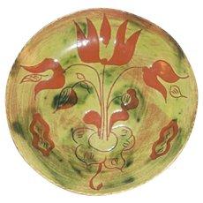 "1987 Breininger Redware Glazed Sgraffito Decorated Round 7"" Plate Tulip Flowers"
