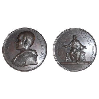 1890 Vatican Bronze Medal Pope Leo XIII & Saint Peter Chained to Rock By Bianchi